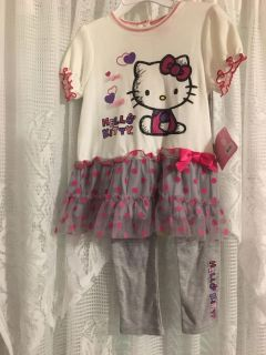 Brand new Hello Kitty toddler girl 2 Pc Outfit Size 4t