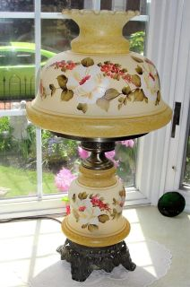 Glass 26 Parlor Table Lamp Hand Painted Flowers Lovely 26 Tall with 14 Round Globe Top and bottom Lights up