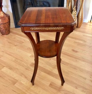 Vintage Solid Walnut Wood 2-Tier Accent Table