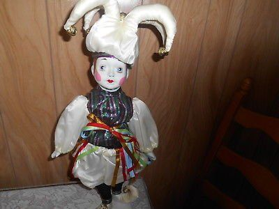 "20"" Bisque Porcelain Doll with Stand! COURT JESTER! Very Cute!"