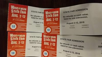 4 general admission Wisconsin state fair tickets