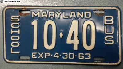 1963 Maryland Bus License Plate 10-40 Exc Shape