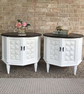 Mid Century Round Side Tables / Liquor Cabinets / Coffee Table / End Tables