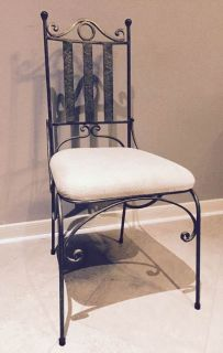 Heavy Iron Quality Chair/Cream White upholstered Seat