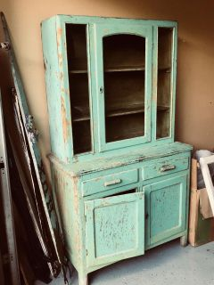 Old Turquoise Antique cabinet