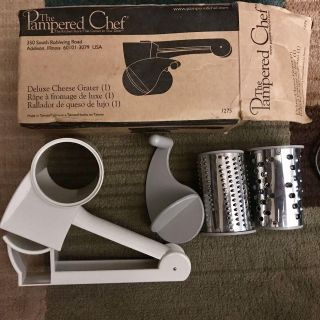 Pampered Chef Deluxe Stainless Steel Handheld Cheese Grater 2 Barrels