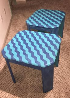 2 wooden chalk painted end tables