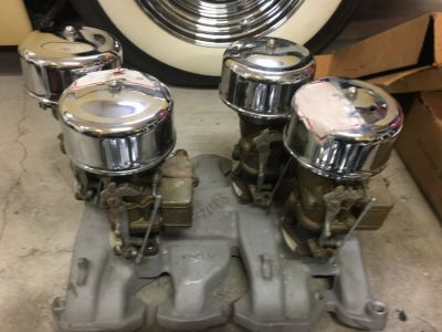 Nos edelbrock manifold with 4 nos 97 carbs