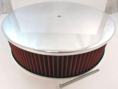 """Buy 14"""" x 4"""" 14x4 4 Brl Polished Alumunim Smooth Air Cleaner W/ Washable Red Filter motorcycle in Chatsworth, California, United States, for US $79.99"""