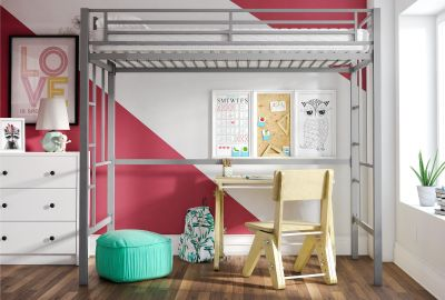 YourZone Twin Metal Loft Beds
