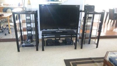 Entertainment center 52 in Sony TV DVD player 2 years old