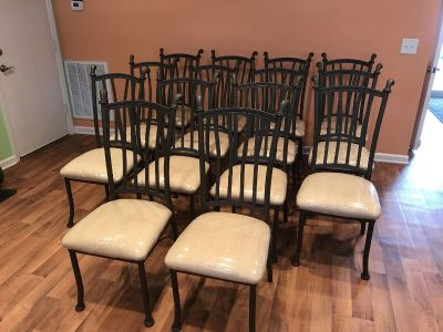 Wrought Iron Style Metal Dining Chairs - 4 left