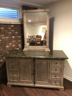 "60"" vanity w/ granite top & mirror"