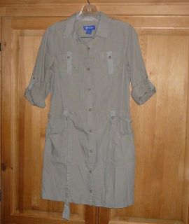 @CLASS Womans XL Beige Cargo Style Mini Dress Button Down with Belt