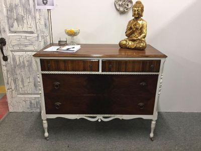 Antique Rochester made Geo J Michelsen Furniture Co. Dresser finished in natural wood and white with antique glaze
