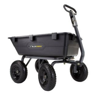 Gorilla Carts GOR6PS Heavy-Duty Poly Yard Dump Cart with 2-In-1 Convertible Handle, 1,200-Pound Capacity
