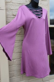 NEW WITH TAGS ~ PRETTY PINK - MAUVE BELL SLEEVE TUNIC DRESS ~ CRISS CROSS NECKLINE Day!