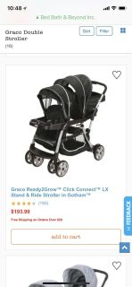 Graco DOUBLE Stroller Ready2Grow Click Connect LX Stand & Ride Stroller in Gotham