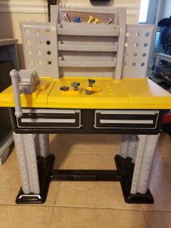 Toddler workbench with tools