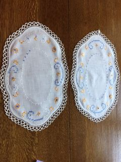 Vintage Pair of Blue, Gold and White Embroidered/Crocheted Vanity Scarves - Damage