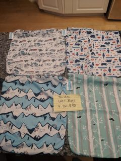 Wet bags for cloth diapers