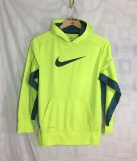 Men's Nike Thermal Dri Fit Hoodie XL Neon Yellow Green Long Sleeve