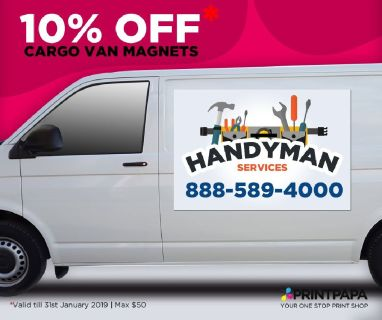 Get 10% discount on color printed cargo van magnets in two different sizes.