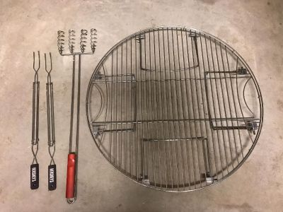 Fire pit top grill, hot dogs stick (cooks 4 at once) and 2 Hershey s mores sticks. Purchased all from Lowe s. Selling all together for $8