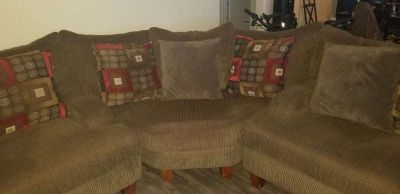 3 pc. Sectional, Area Rug and Wall Art