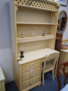 Cream Color Desk, Lighted Hutch and Chair