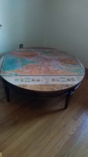Very awesome 42 round coffee table with map on top