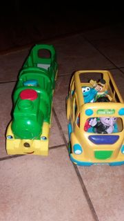 Fisher-Price light and sound passenger train and Sesame Street bus