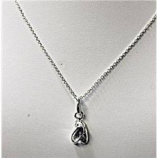 $50 Fancy Ladies 18k White Gold Necklace with Ballet Shoes Pendant JA4025