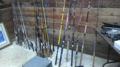 over 30 rods and reels.. From kids to striper sets.
