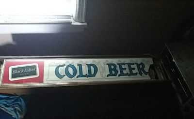Black label old beer sign.