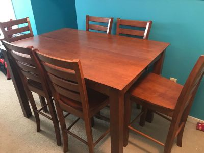All wood Dining table w/ leaf and 6 chairs- $200