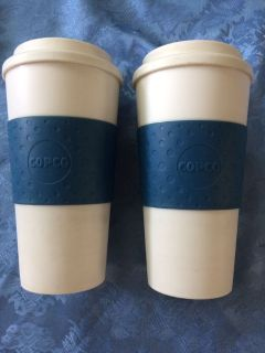 Two cop Copco travel mugs 1 lid good