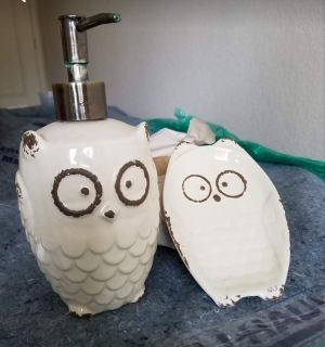 Bathroom soap dispenser and soap dish
