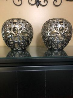 Silver Ceramic Candle Holders