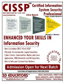 3D EDUCATORS OFFER CISSP - CERTIFIED INFORMATION SYSTEM SECURITY PROFESSIONAL TRAINING VIA LIVE / ON