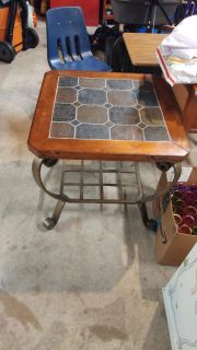 Wood and slate top end table
