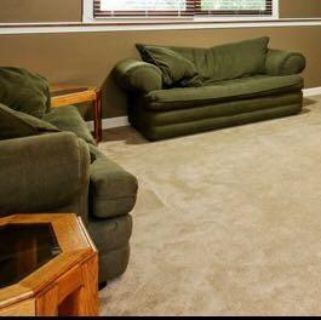 Pull out bed couches, ottoman and end tables