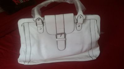 White Leather Purse/Tablet Bag