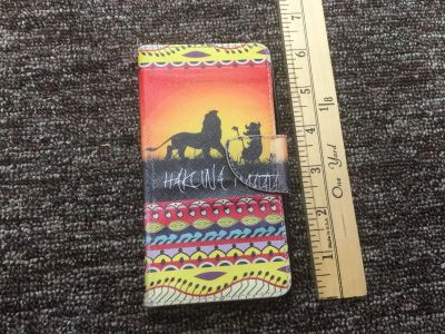 Disney Lion King cell phone wallet, not sure which phone this fits, larger than iPhone 5s, can try before purchasing, $3.00 scroll right.