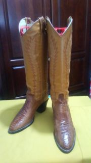 Women's Larry Mahan Leather Snakeskin Cowboy Boots