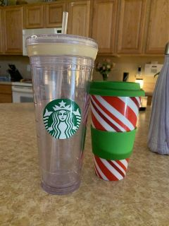 Starbucks cup and Christmas coffee cup