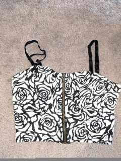 Never worn black and white floral bandeu