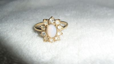 NEW Avon Oval Fiery Opalesque Gemstone Ring Size 10 Surrounded by 10 White CZ