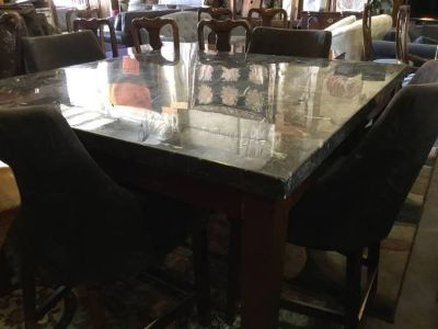 Bistro Height Marble Topped Dining Table and Four Chairs - Delivery Av
