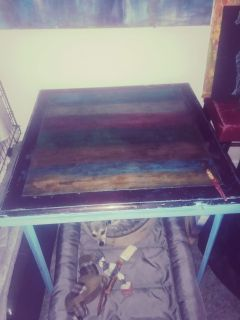 Repurposed collapsible all wood card table(vintage)